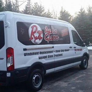 This is a photo fo the RX Auto Glass van.